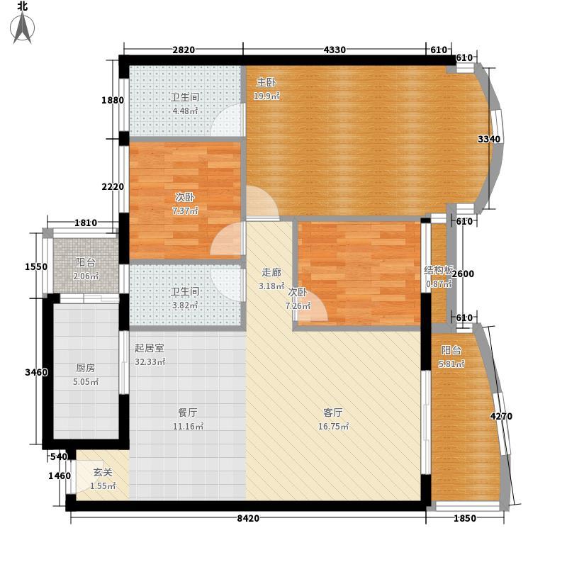 金美花园泓景峰98.00㎡金美花园泓景峰3室户型3室