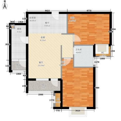 海亮公馆2室0厅1卫1厨90.00㎡户型图
