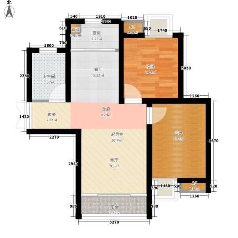 天赐福地2室0厅1卫1厨67.00㎡户型图