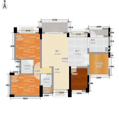 富康花园3室0厅2卫1厨104.22㎡户型图