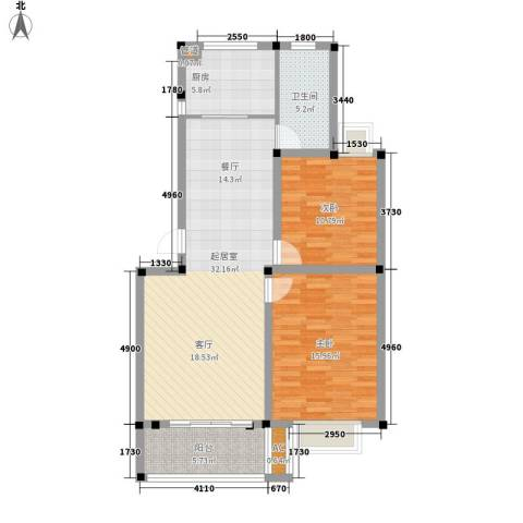 满芳庭2室0厅1卫1厨87.16㎡户型图