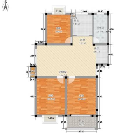 满芳庭3室0厅1卫1厨101.37㎡户型图