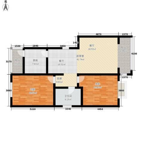 蓝湾华府2室0厅1卫1厨100.00㎡户型图