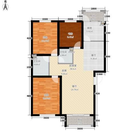 祥泰香榭花堤3室0厅2卫1厨107.92㎡户型图