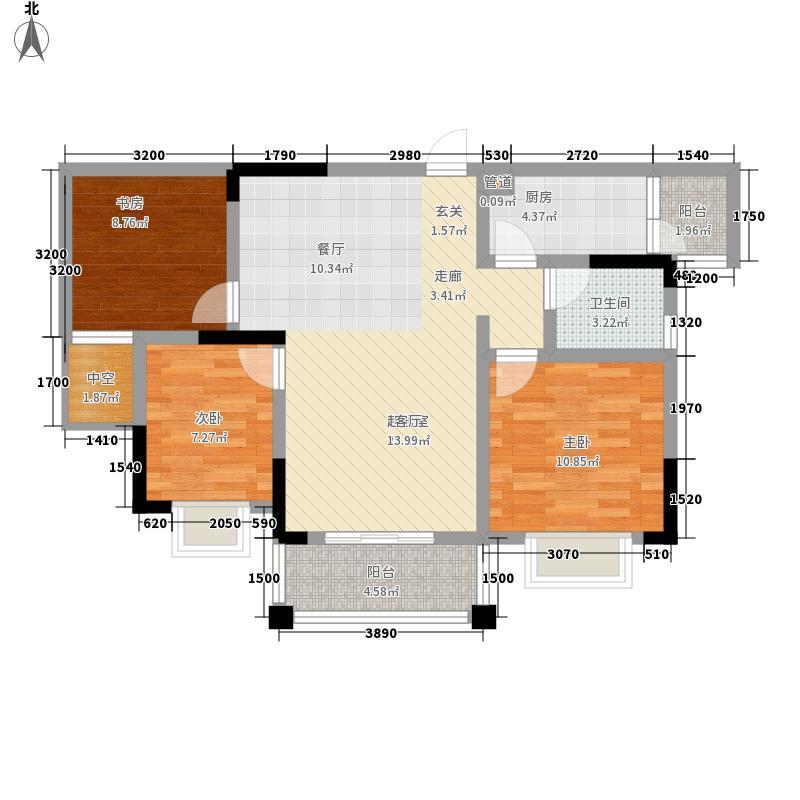 兴茂盛世华都88.52㎡一期13、15、16、17栋标准层E3户型