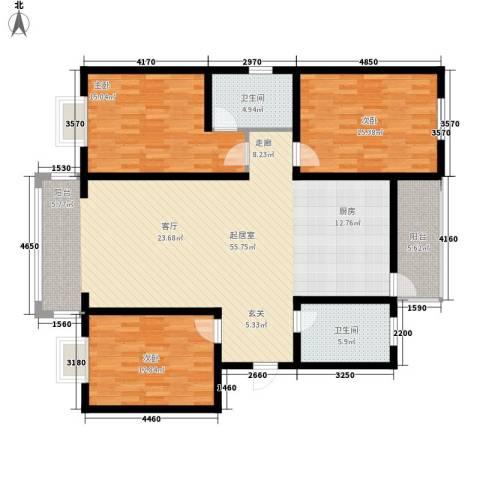 蓝湾华府3室0厅2卫0厨121.00㎡户型图