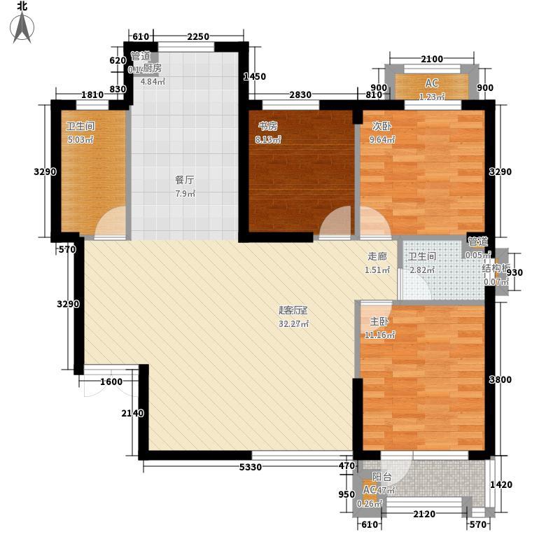 波菲蓝岛项目户型图1、5#132户型 3室2厅1卫1厨