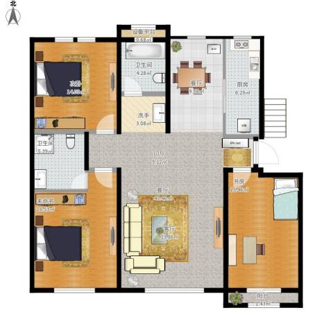 明佳花园2室1厅2卫1厨155.00㎡户型图