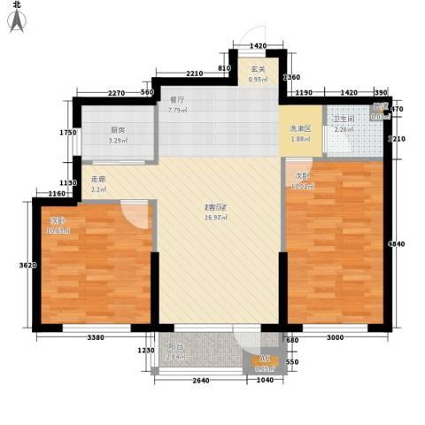 波菲蓝岛项目2室0厅1卫1厨85.00㎡户型图
