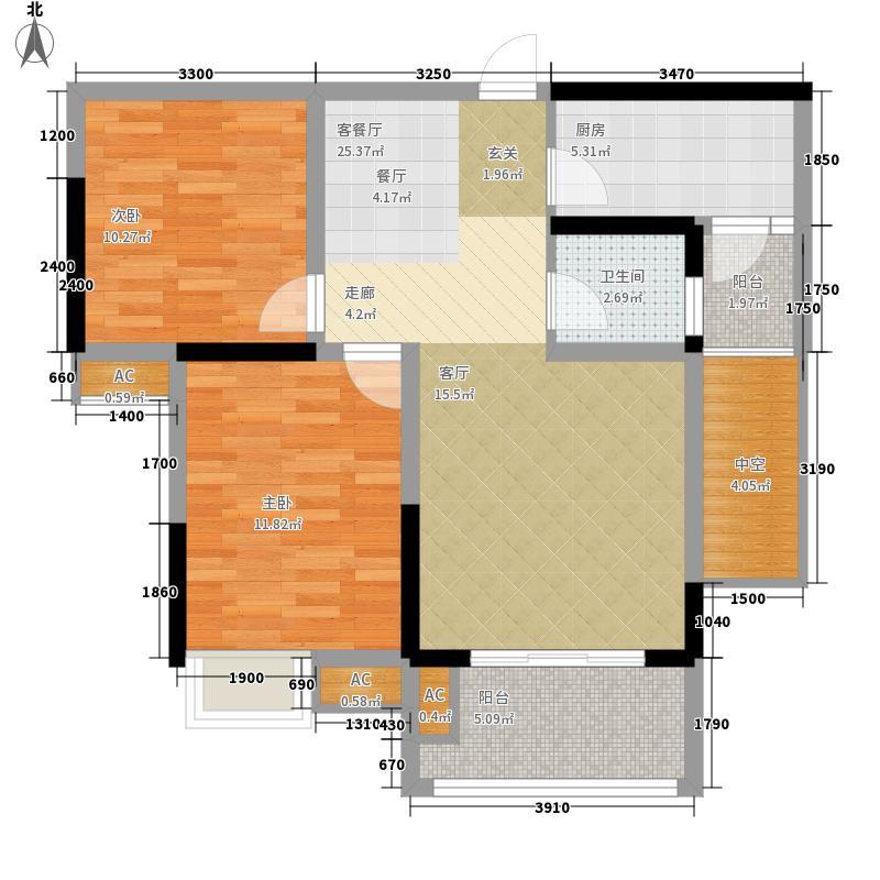 金科中央公园城83.31㎡1期13号楼标准层D1户型