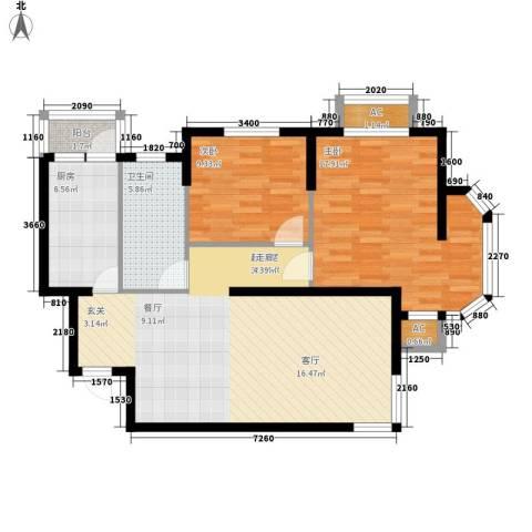 波菲蓝岛项目2室0厅1卫1厨102.00㎡户型图