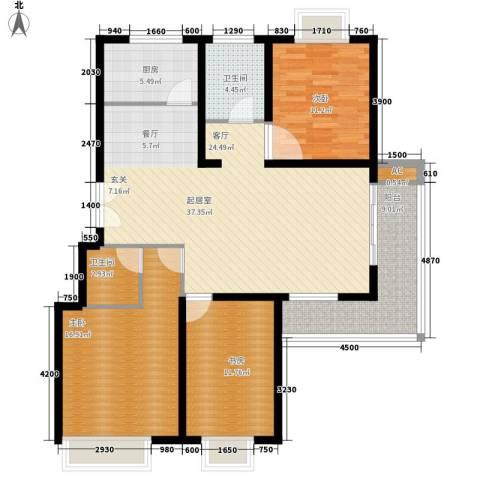 碧水云天3室0厅2卫1厨142.00㎡户型图