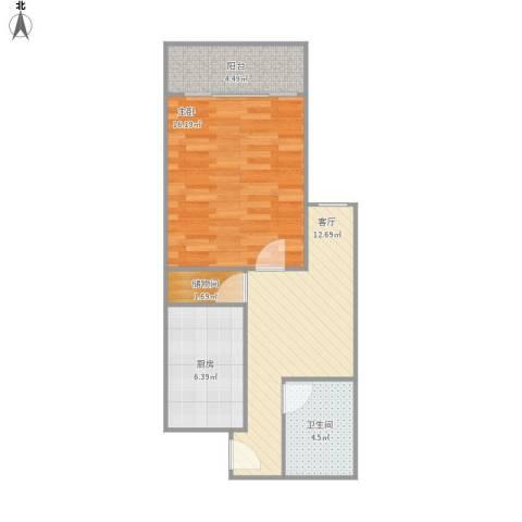 乾溪二村1室1厅1卫1厨62.00㎡户型图