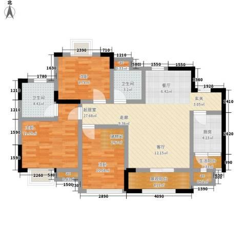凯鑫华府3室0厅2卫1厨107.00㎡户型图