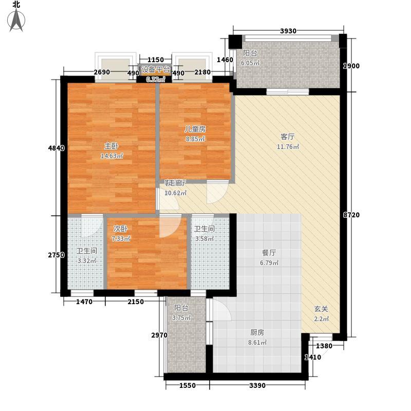 顺宝花园100.00㎡顺宝花园户型图B区2座D型3室2厅2卫1厨户型3室2厅2卫1厨