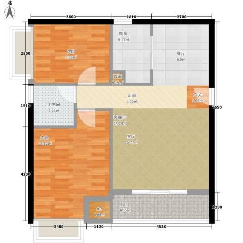 公园西郡大厦2室1厅1卫1厨89.00㎡户型图