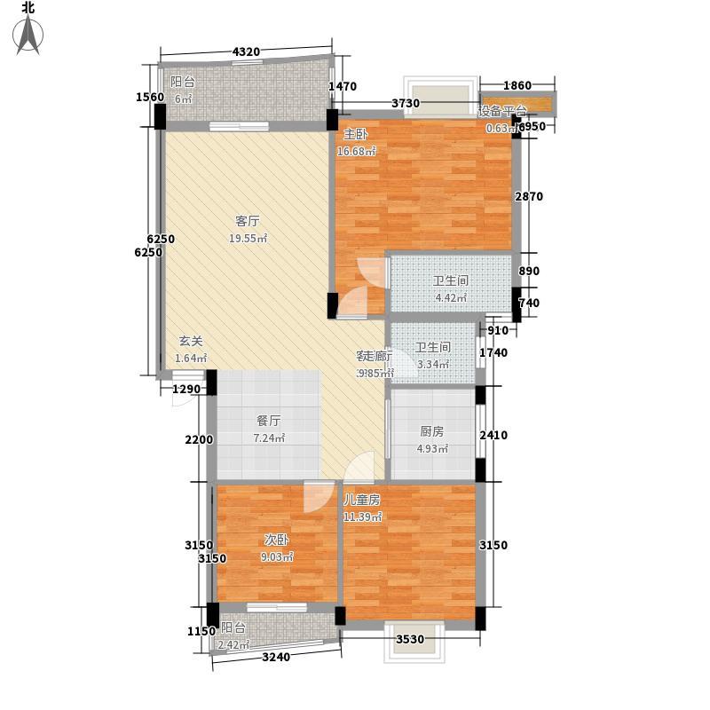顺宝花园100.00㎡顺宝花园户型图B区1座B型3室2厅2卫1厨户型3室2厅2卫1厨