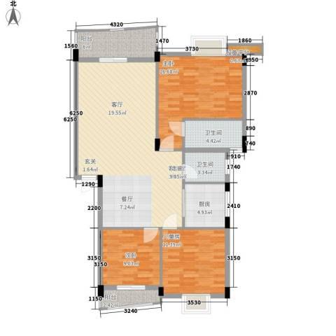 顺宝花园3室1厅2卫1厨100.00㎡户型图