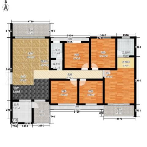 长房天翼未来城5室1厅2卫1厨159.34㎡户型图