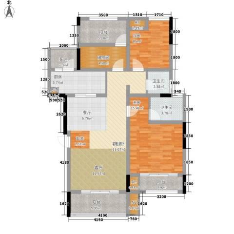 金科中央公园城2室1厅2卫1厨108.00㎡户型图