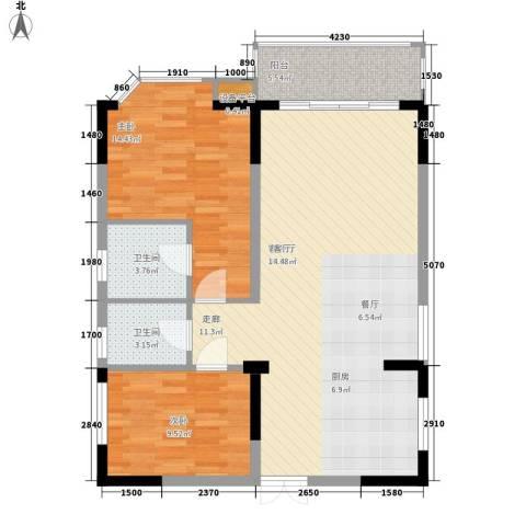 世纪绿洲二期2室1厅2卫0厨98.00㎡户型图
