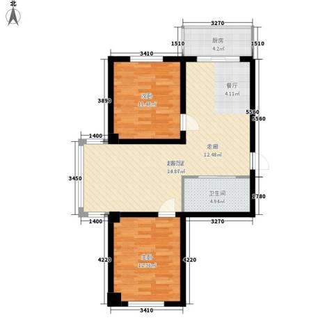 东方之珠龙兴苑2室0厅1卫1厨91.00㎡户型图