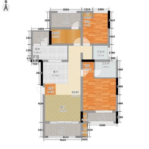 金科中央公园城2室1厅2卫1厨106.00㎡户型图