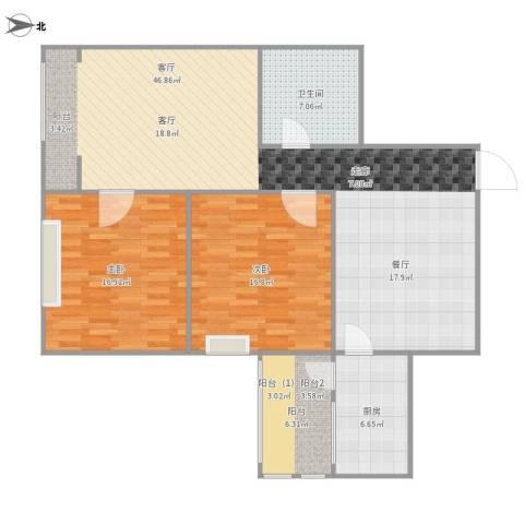 瑞欣家园2室1厅1卫1厨134.00㎡户型图
