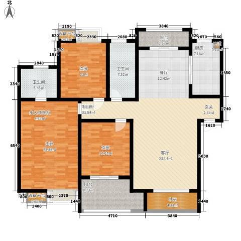 天一新城3室1厅2卫1厨160.00㎡户型图