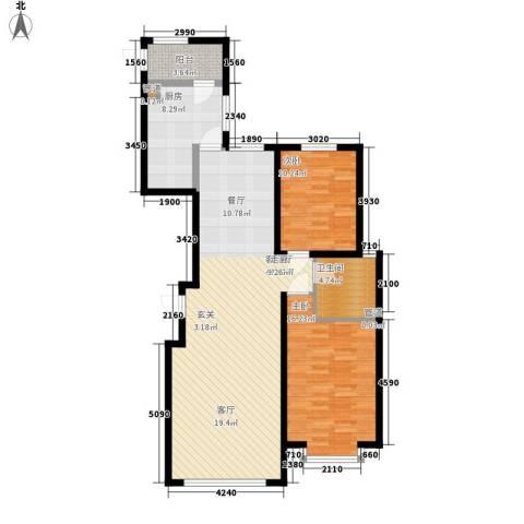 左岸慧晶2室1厅1卫1厨120.00㎡户型图