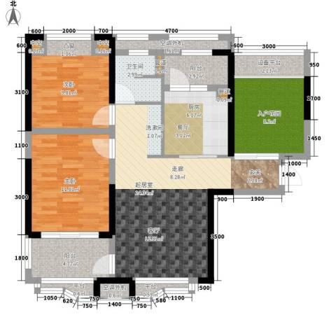 奥克斯盛世华庭2室0厅1卫1厨96.00㎡户型图