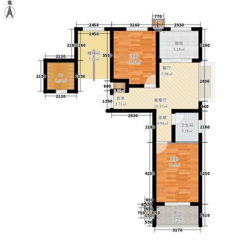 向阳城2室1厅1卫1厨75.00㎡户型图