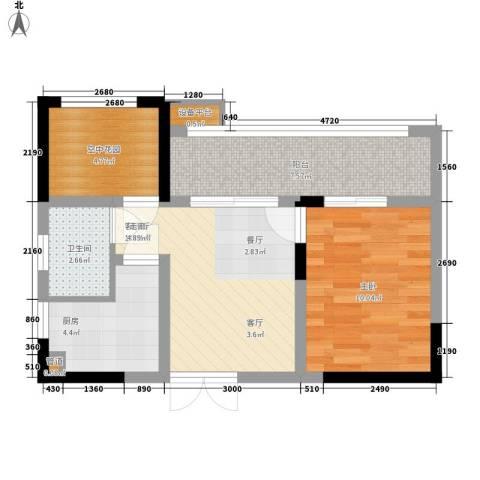攀华国际广场1室1厅1卫1厨62.00㎡户型图