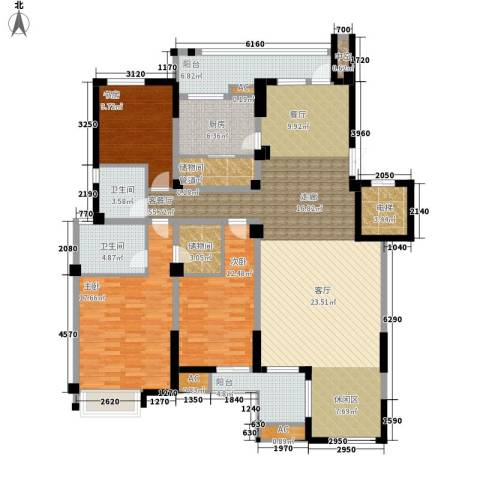 海棠湾花园3室1厅2卫1厨156.00㎡户型图