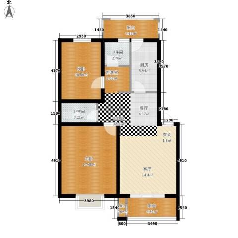 银贡山庄2室0厅2卫1厨91.00㎡户型图