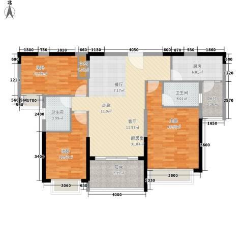 恒大・名都3室0厅2卫1厨120.00㎡户型图