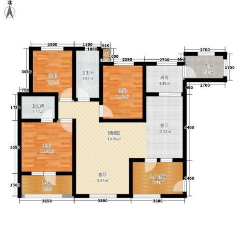 东方格兰维亚3室0厅2卫1厨122.00㎡户型图