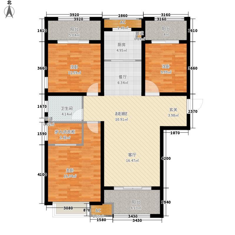 济南世茂天城123.00㎡户型3室2厅