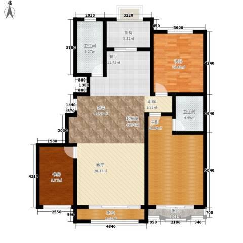 九龙明珠3室0厅2卫1厨133.00㎡户型图