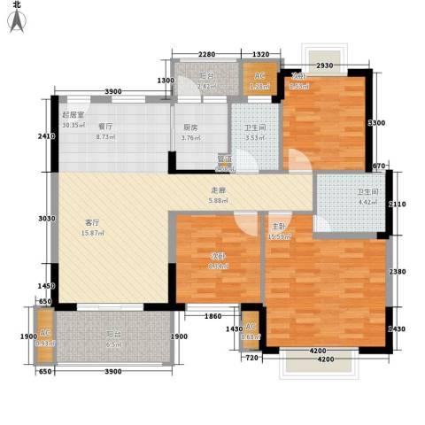 向阳路小区3室0厅2卫1厨122.00㎡户型图