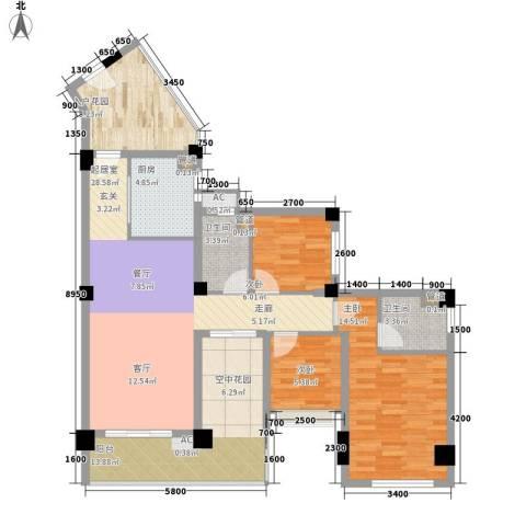 东方・碧海云天3室0厅2卫1厨98.00㎡户型图