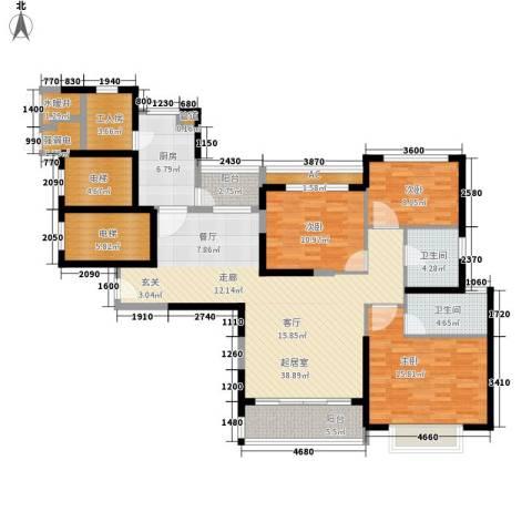 恒大名都3室0厅2卫1厨142.00㎡户型图