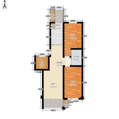 东方之珠龙兴苑2室0厅1卫1厨92.00㎡户型图