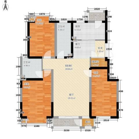 左岸慧晶3室1厅2卫1厨147.00㎡户型图