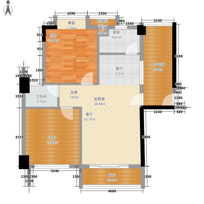 鸿业城市花园96.00㎡鸿业城市花园户型图12座01单元奇数层2室2厅1卫1厨户型2室2厅1卫1厨