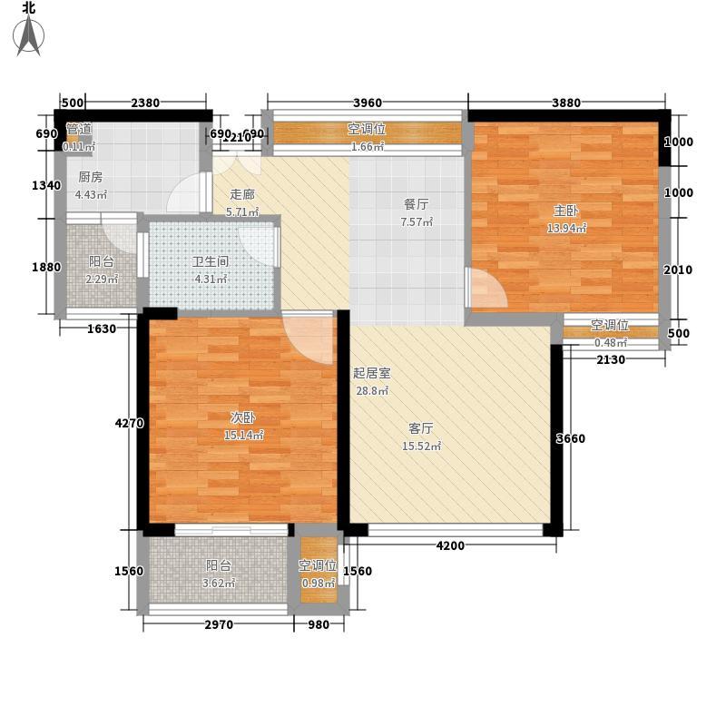 鸿业城市花园88.00㎡鸿业城市花园户型图04座02单元2室2厅1卫1厨户型2室2厅1卫1厨