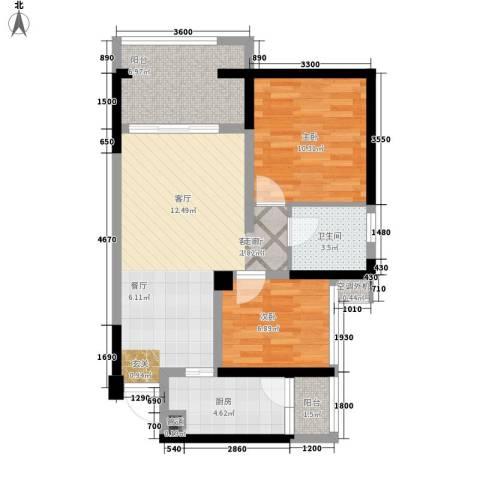 天坛大厦2室1厅1卫1厨82.00㎡户型图