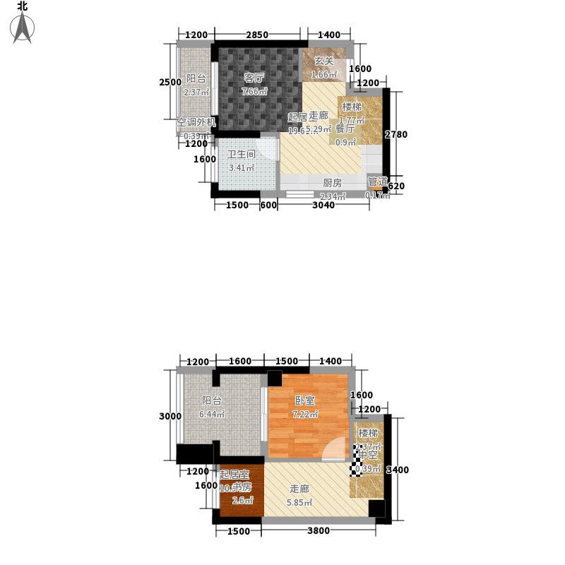 盛天国际64.00㎡01户型2室1厅1卫1厨