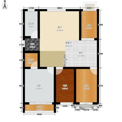 九龙明珠3室1厅2卫1厨107.00㎡户型图