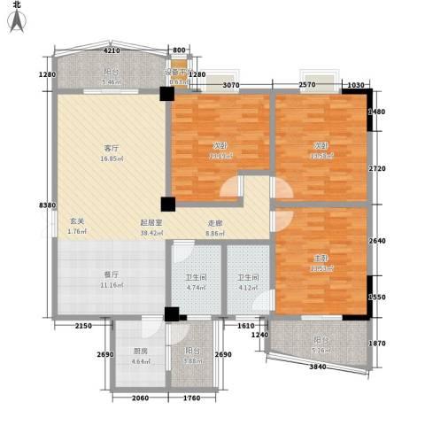 涨浦景苑3室0厅2卫1厨152.00㎡户型图